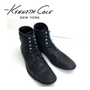 Kenneth Cole Wild Game Lace up Moto Boot Black